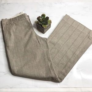 GAP stretch taupe window pane flare dress pants